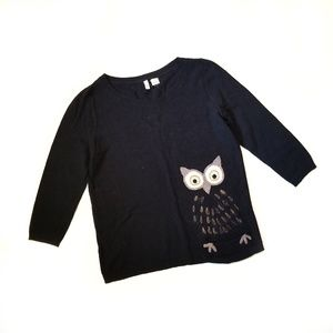 Anthropologie Moth Owl Embroidered Sweater 257
